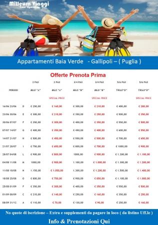 Offerta Appartamenti Baia Verde - Gallipoli Mare Italia