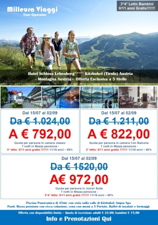 Offerta - Hotel Schloss Lebenberg - Austria  - Kitzbuhel Montagna Austria Estate