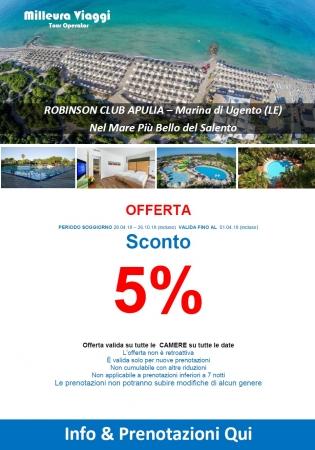 Offerta - Robinson club Apulia  - Sconto 5% 10% Mare Italia