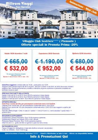 Villaggio club Sestriere Montagna Italia
